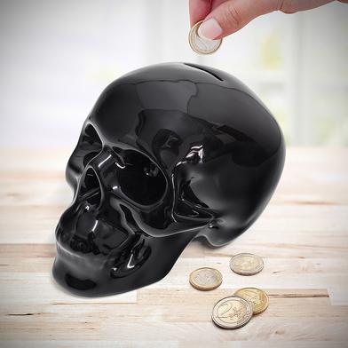 Coin bank skully black ceramic balvi - Piggy bank without stopper ...