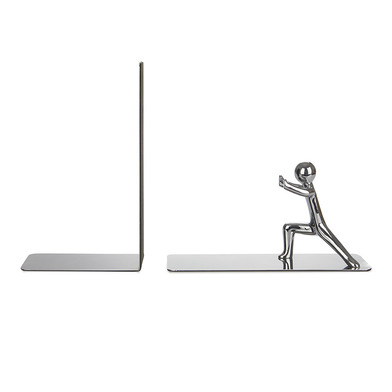 Balvi Bookend Push! Chrome Plated colour Set of 2 pieces Zinc