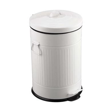 alvi Cubo basura Basics Color blanco Con cubo extraíble de 20L Con pedal Con asas Diseño retro Inox/
