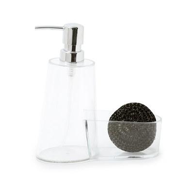 alvi Set lavavajillas Basics Transparente Dosificador de jabón Con espacio para guardar el estropajo