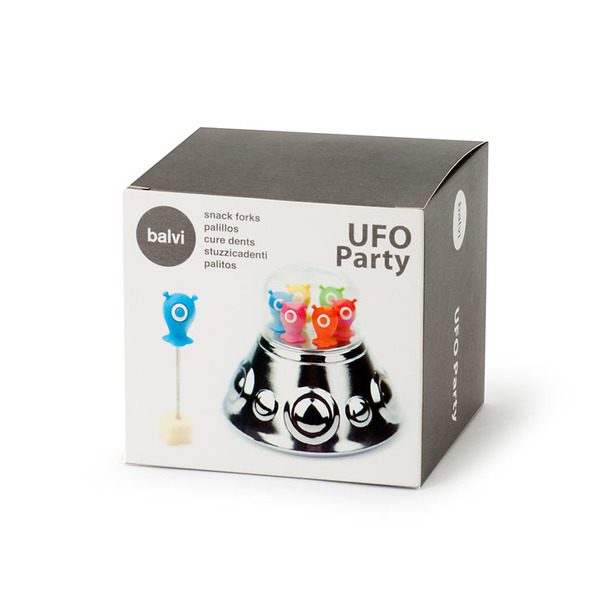 Balvi Snack fork Ufo Party 6 metal sticks Shaped aliens and UFo shaped base ABS plastic/stainless