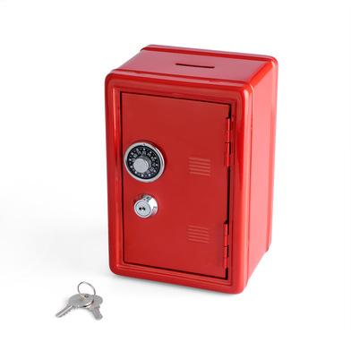 alvi hucha Money Bank Rojo Caja de seguridad con doble cerradura combinación y llave Guarda monedas,