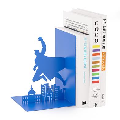 Balvi sujeta libros Superhero Color azul En forma de superhéroe Metal 17 cm