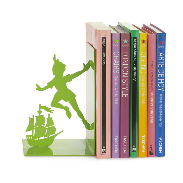 Balvi bookend Flying Boy Green colour In the shape of Peter Pan Metal 17 cm