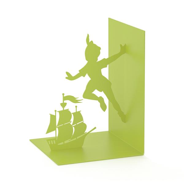 Balvi sujeta libros Flying Boy Color verde En forma de Peter Pan Metal 17 cm