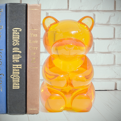 alvi bookend Yummy Bear Yellow colour Shaped gummy bear Decorate your shelf Protect your books Polyr