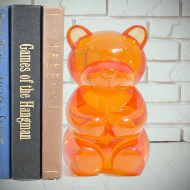 alvi bookend Yummy Bear Orange colour Shaped gummy bear Decorate your shelf Protect your books Polyr