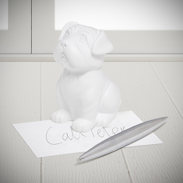 Balvi pen & paperweight Woof! White colour In the shape of a dog Resin