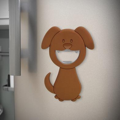 Balvi bottle opener Woof! Brown colour In the shape of a dog Magnetic PVC plastic/metal