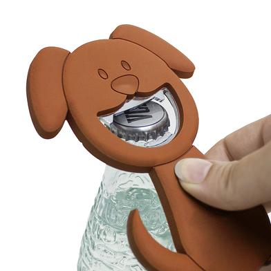 Balvi abrebotellas Woof! Color marrón En forma de perro Magnético Plástico PVC/metal