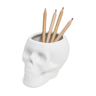 Balvi portalápices Skull Color blanco En forma de calavera Cerámica