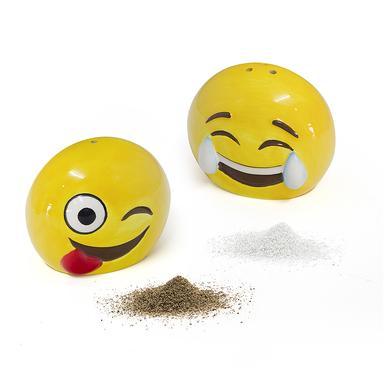 Balvi set sal & pimienta Emoji En forma de emoticono Cerámica