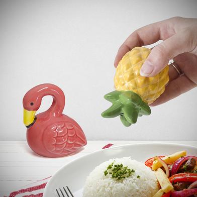 Balvi salt & pepper set Tropico In the shape of a flamingo and a pineapple Ceramic