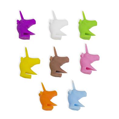 alvi marca copas Unicorn Con forma de cabeza de unicornio Contiene 8 marcacopas de colores diferente