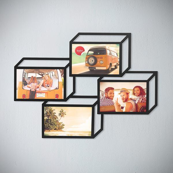 Balvi portafoto multiplo Tratto Colore nero Cornice per 4 foto di 13x18 cm portafoto da muro MDF
