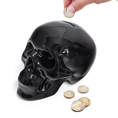 Balvi Hucha Skully Color negro En forma de calavera Cerámica