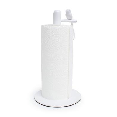 Balvi Soporte papel cocina Birdie Color blanco portarollos con pajarito decorativo Metal/plástico