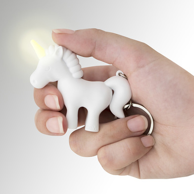 Balvi key ring Unicorn White colour Key ring with light in the shape of a unicorn ABS plastic/metal