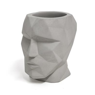 Balvi Portalápices The Head Color gris Forma de cabeza Silueta geométrica Cemento