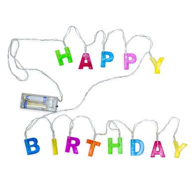 Balvi Luz Happy Birthday Tira de 13 luces con mensaje de feliz cumpleaños Plástico PVC 192 cm