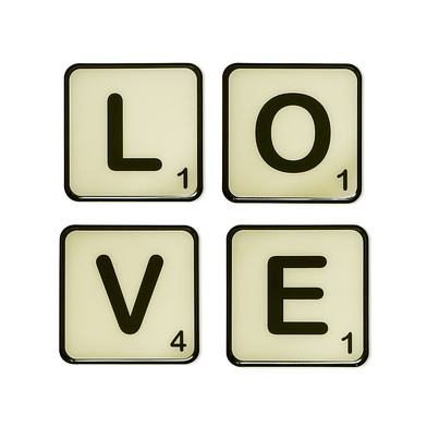Balvi Posavasos Love Set de 4 posavasos magnéticos  Resina 10 cm