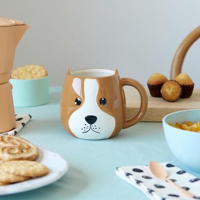 alvi Mug Woof! Taza en forma de cabeza de perro Capacidad 400ml Apta para lavavajillas y microondas