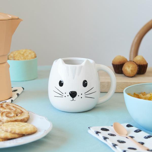 alvi Mug Kitty Taza en forma de cabeza de gato Capacidad 400ml Apta para lavavajillas y microondas C