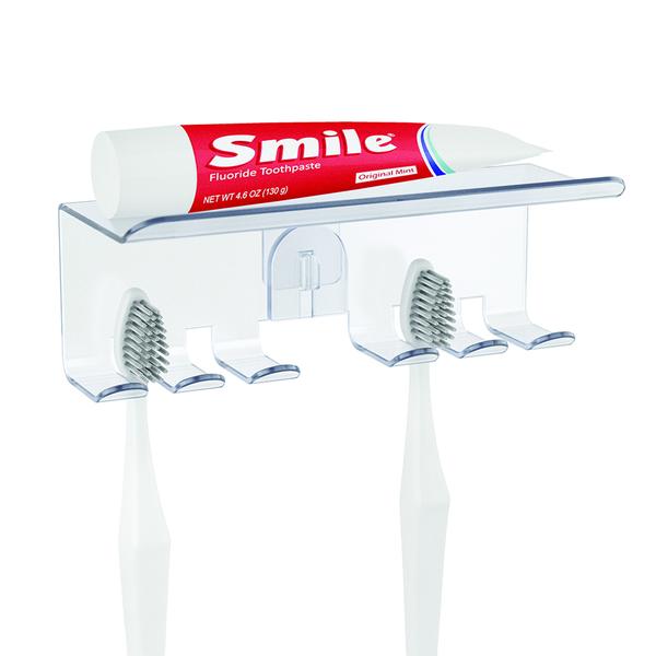alvi Organizador cepillos dentales Basics Adhesivo Para 4 cepillos Con repisa Plástico ABS/plástico