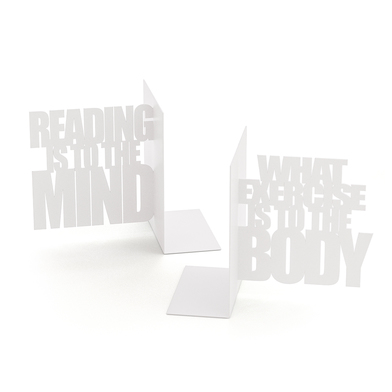 Balvi Sujeta libros Mind Exercise Color blanco Set 2 sujeta libros decorativos Metal