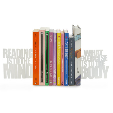Balvi Sujeta libros Mind Exercise Color blanco Set 2 sujeta libros decorativos Metal