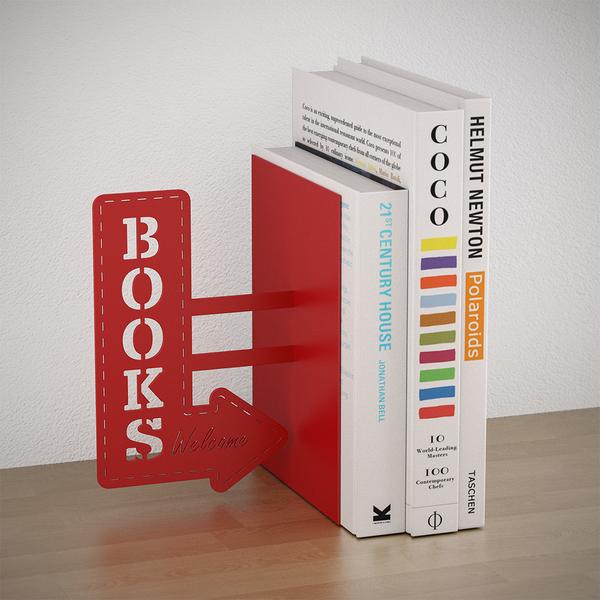 Balvi Bookend Bookshop Red colour Decorative Metal