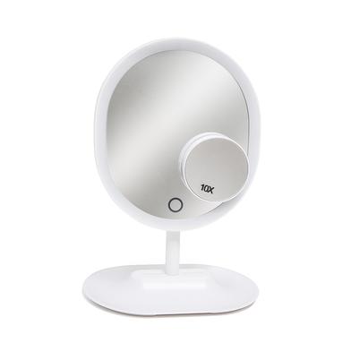 alvi Espejo maquillaje Touch Color blanco Luz LED Incluye otro espejo de 10 aumentos Altura 30cm Plá
