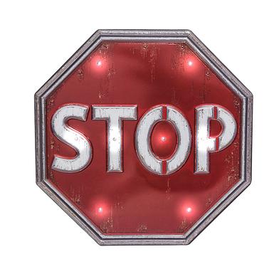 Balvi Rótulo decorativo Stop Luz LED de larga duración Función táctil Adhesivo Plástico PVC 31cm