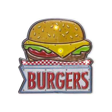 Balvi Rótulo decorativo Burger Luz LED de larga duración Función táctil Adhesivo Plástico PVC 17,5cm