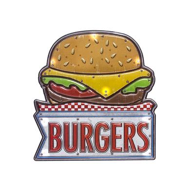 Balvi Rótulo decorativo Burger Luz LED de larga duración Función táctil Adhesivo Plástico PVC 31cm