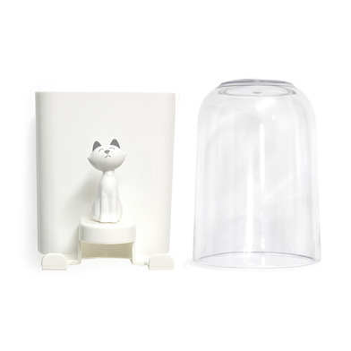 alvi Soporte cepillo dental Kitty Color blanco Para dos cepillos dentales Con vaso y figura de gatit