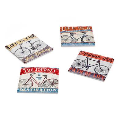 Balvi Posavasos Vintage Cycles Conjunto de 4 posavasos Base de corcho Cerámica 10,8cm