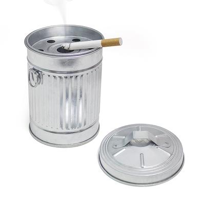 Balvi Cenicero Garbage en forma de cubo de basura Con tapa Metal galvanizado 13cm