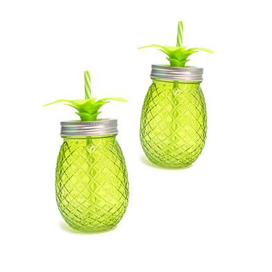 Balvi Vaso Tropico Color verde 500ml Set de 2 unidades en forma de piña Cristal