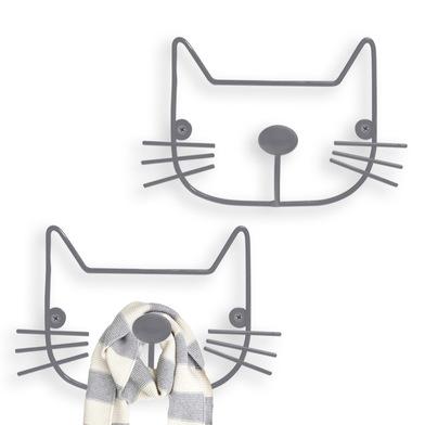 Balvi Wall hanger The Cat Gray colour Set of 2 hangers Shaped cat head Iron