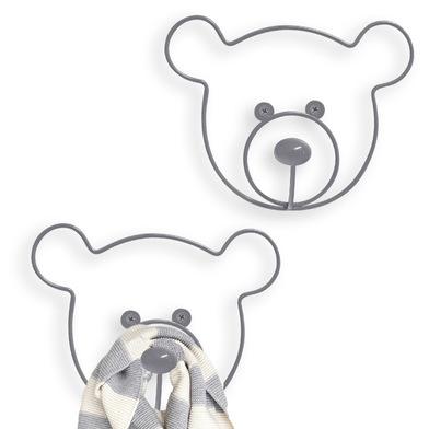 Balvi Colgador pared The Bear Color gris Set de 2 colgadores Con forma de cabeza de oso Hierro