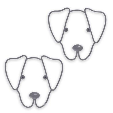 Balvi Colgador pared The Dog Color gris Set de 2 colgadores Con forma de cabeza de perro Hierro