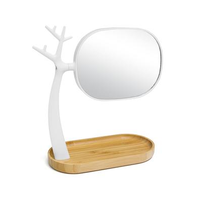 alvi Espejo maquillaje Nature Color blanco Espejo con 2 caras Aumentos x3 Con repisa y soporte para