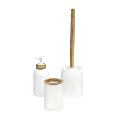 alvi Set salle de bain Zen Couleur blanc Ensemble Set de 3 pièces Distributeur de savon,verre et bro