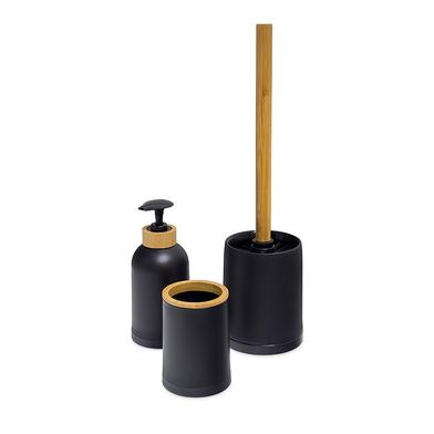 alvi Set salle de bain Zen Couleur noir Ensemble Set de 3 pièces Distributeur de savon,verre et bros