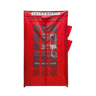 Balvi Armario London Color rojo Con cremallera Incluye 4 bolsillos laterales Tela 156x87x46cm