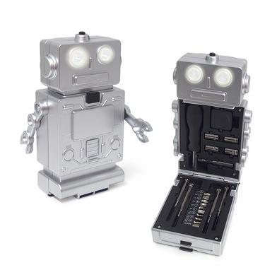 alvi Set herramientas Robot Color plateado Con luz, 1 destornillador con 10 puntas, 4 destornillador