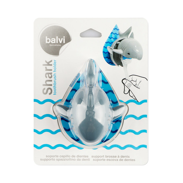 alvi Soporte cepillo dental Shark Color gris Incluye soporte pared adhesivo Plástico ABS/plástico PV