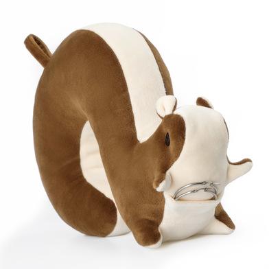 Balvi Cojín de viaje Squirrel Color marrón Con forma de ardilla Incluye bolsillo y colgador Algodón