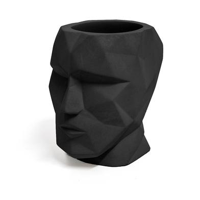 Balvi Pot à crayons The Head Couleur noir En forme de tête géométrique Ciment